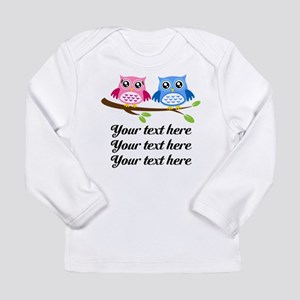 personalized add text Owls Long Sleeve T-Shirt